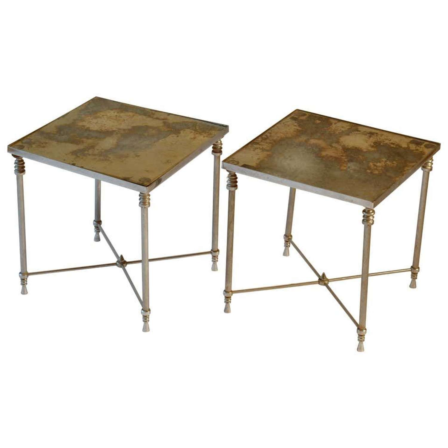 Pair of Regency Square Side Tables with Distressed Mirror