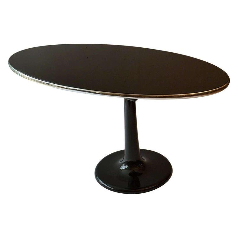 Metamorphic Black Glass Table & Mirror on Tulip base