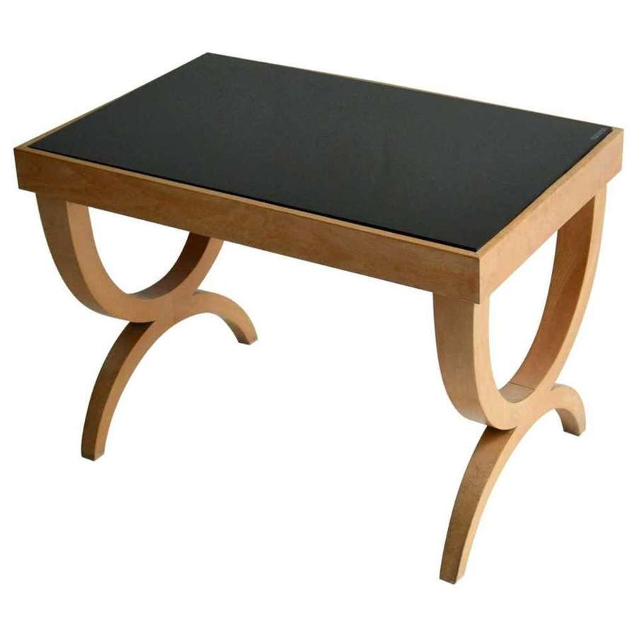 Regency Style Side Table in Blond Wood and Black Glass