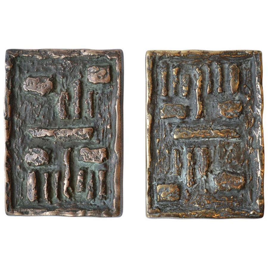 Pair of Brutalist Push and Pull Bronze Door Handles