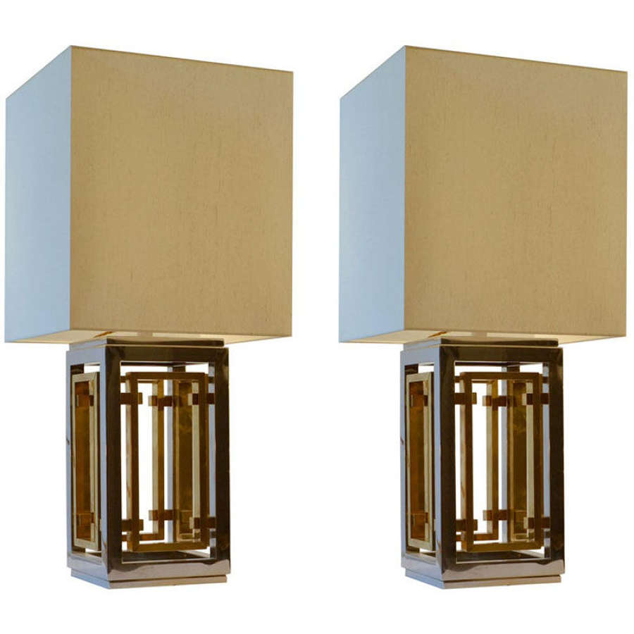 Romeo Rega Pair of Table Lamps, Chrome and Brass