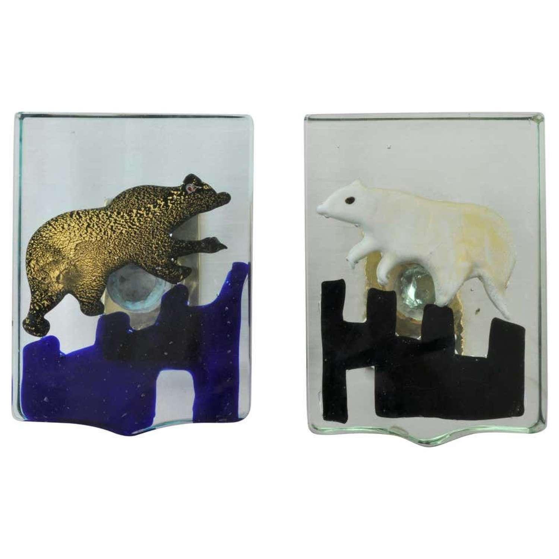 Pair of Glass Polar Bear Door Handles by Alfredo Barbini