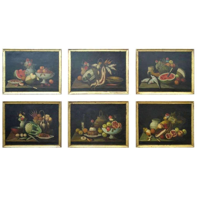 Still Life Oil Paintings Series of Six 18th Century Spanish