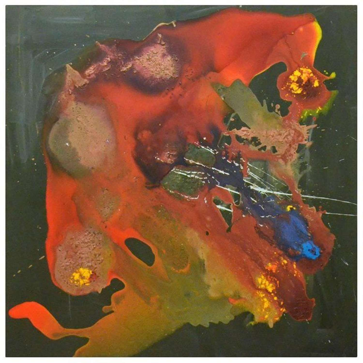 Large Abstract drip Painting with vibrant Colours
