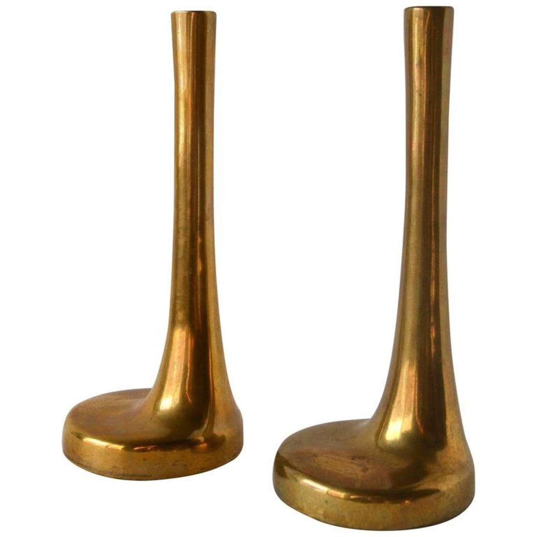 Pair of Italian Single Flower Brass Vases