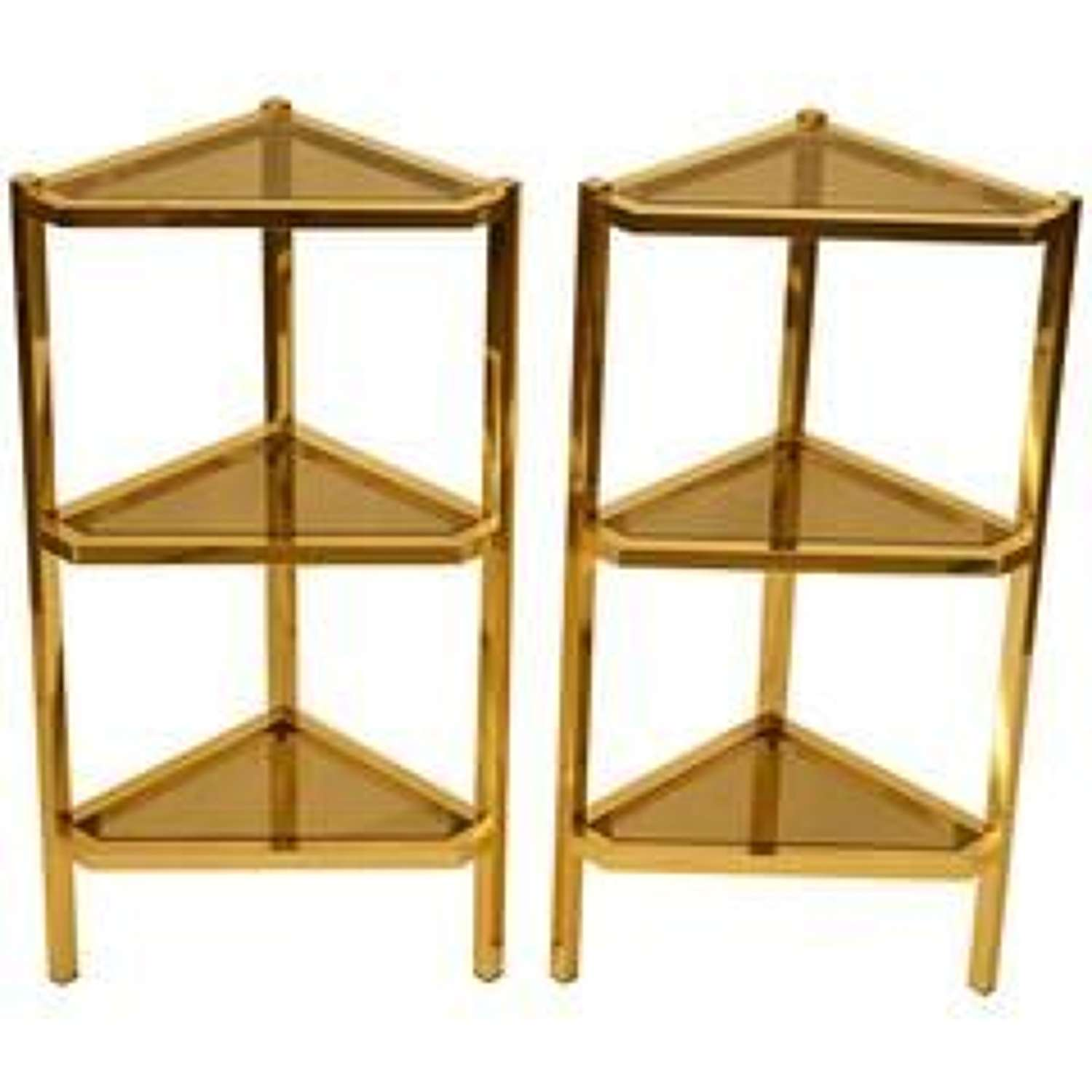 Pair of Triangular Brass and Glass 1970's Shelving Units