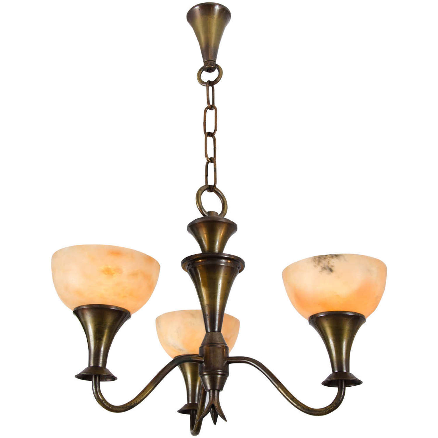 Art Deco Chandelier with Alabaster Shades and Brass
