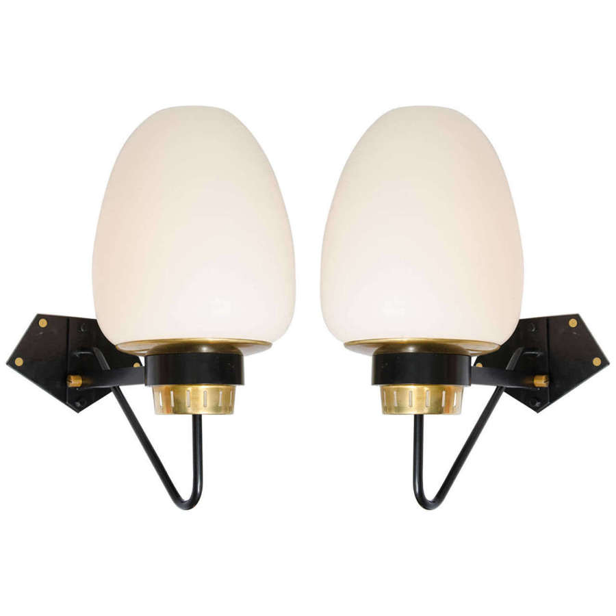 Pair of Large Opaline Wall Lamps on Black & Brass Frame