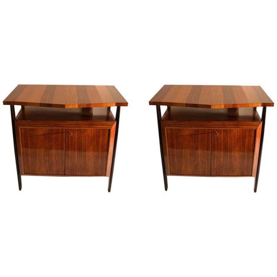 Pair of Cabinets in Blond & Palisander Veneers