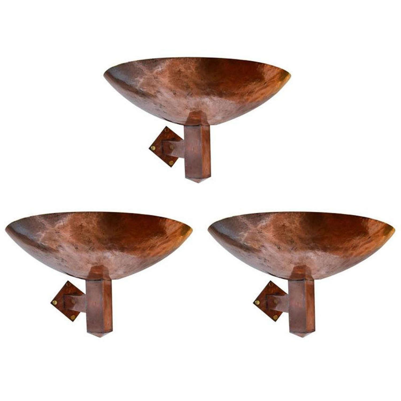 Set of Three Wall Sconces Art Deco Copper Dutch