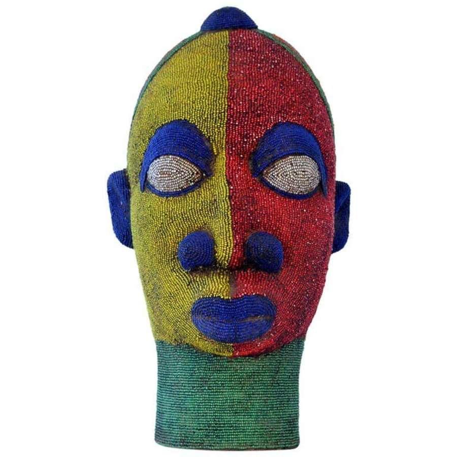 Large Female Head Sculpture in Colored Beads Nigeria