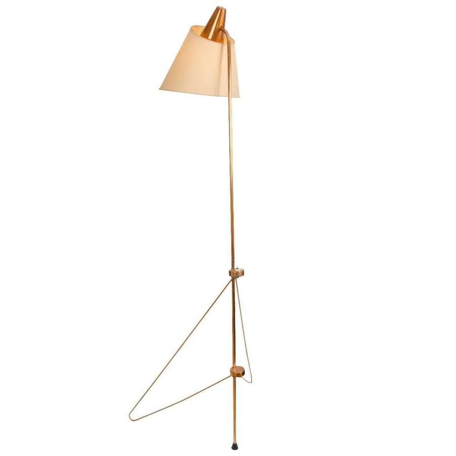 Modernist Copper Floor Lamp by Josef Hurka Czech 1958