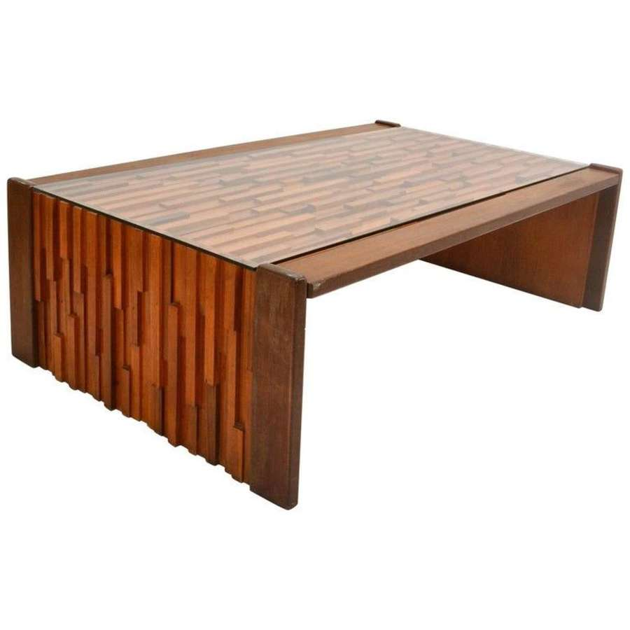 Coffee Table Hardwood Relief by Percival Lafer, Brasil