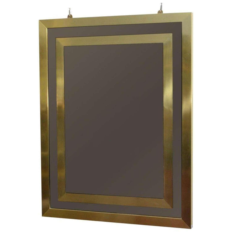 Rectangular Mirror Bronze Tinted  with Brass Frame