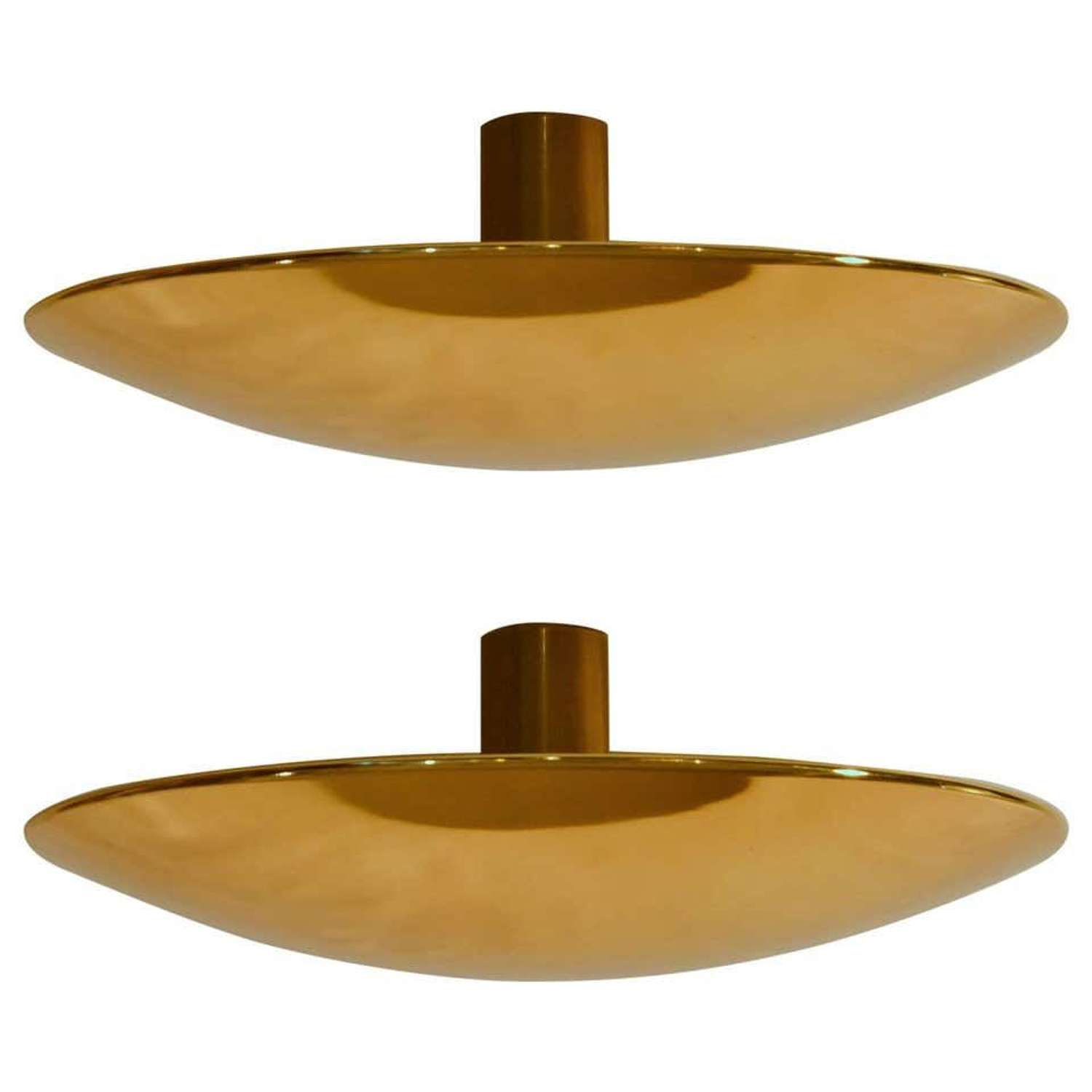 Pair of Brass Flush Ceiling or Wall Lights by F. Schulz