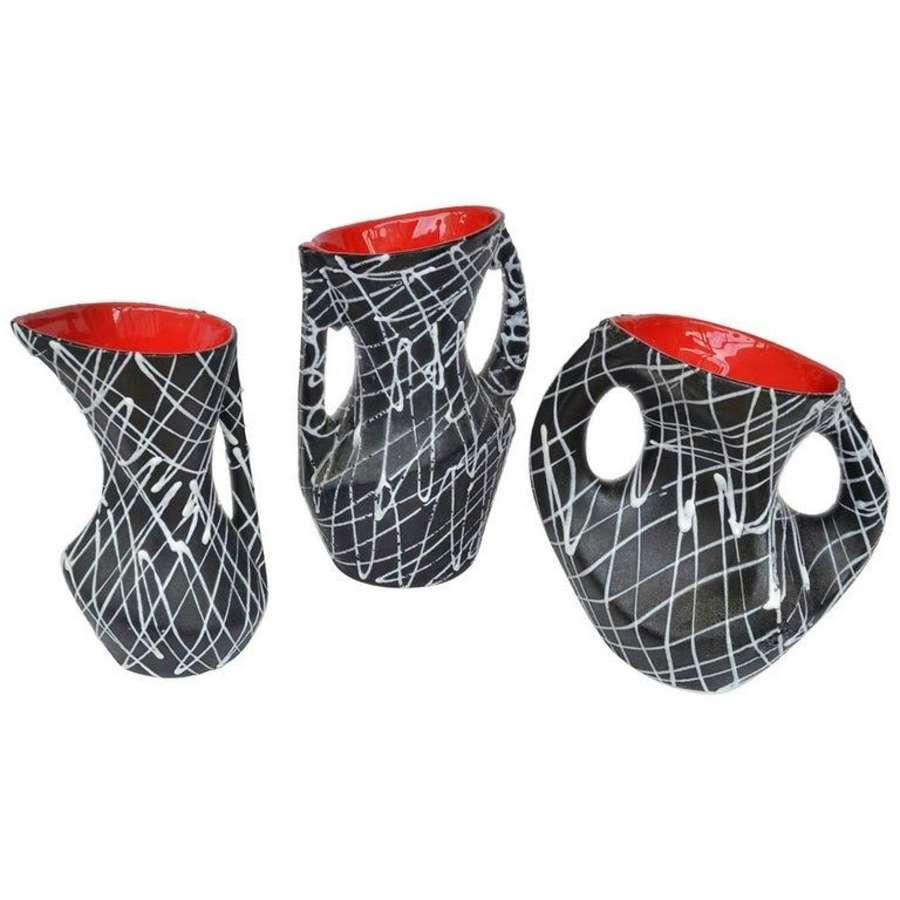 Set of Three Vallauris Ceramic Vases in Black & White