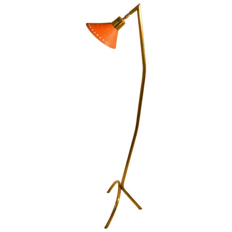 Brass Floor Lamp with Orange Enamel Shade