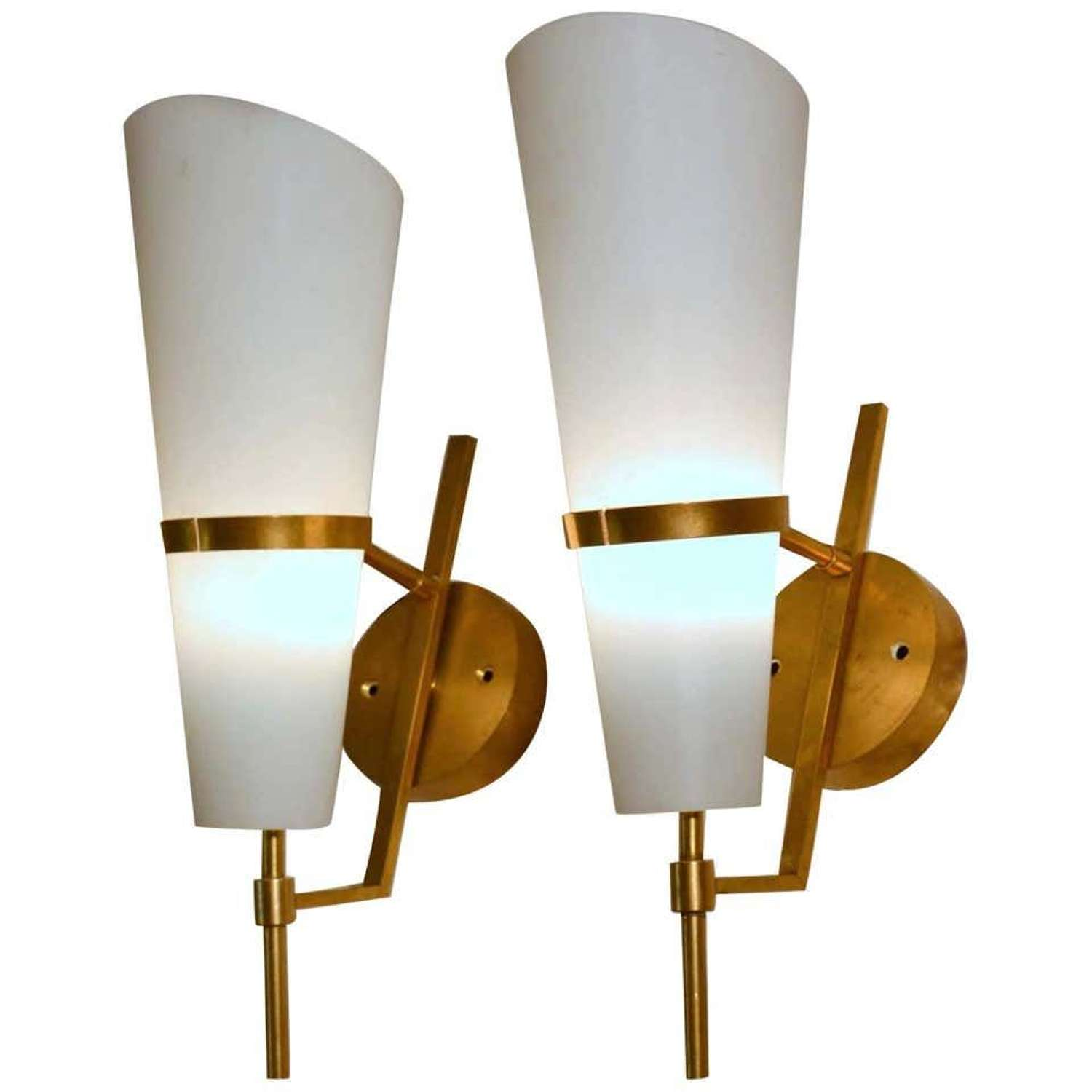 Pair of Wall Sconces in Brass and Glass Stilnovo, Italy