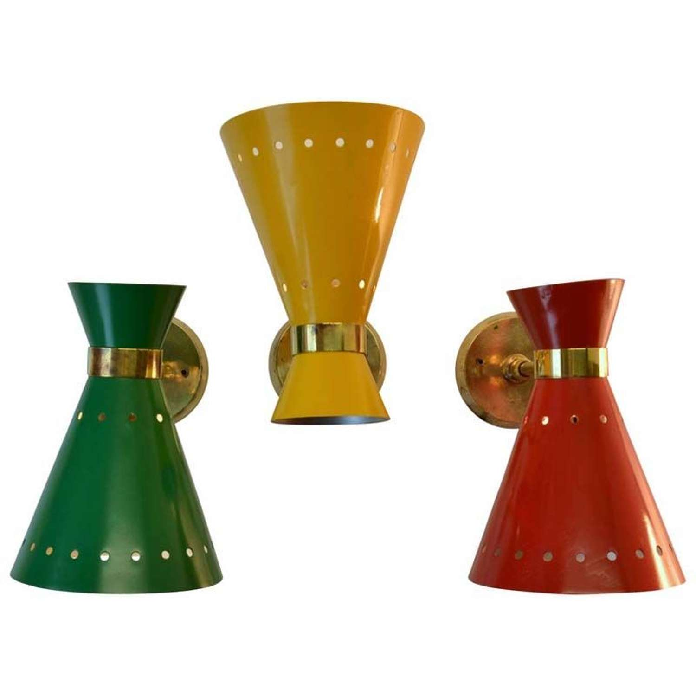 Mid-Century Italian Red, Yellow, Green & Brass Sconces