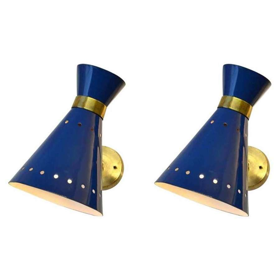 Modern Pair of Blue & Brass Sconces, Italy 1960's