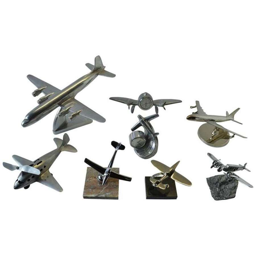 Collection of Plane Model Sculptures in Aluminium and chrome