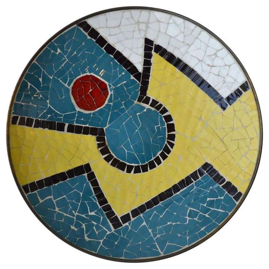Charger & Wall Plate in Brass with Colorful Mosaic Motif