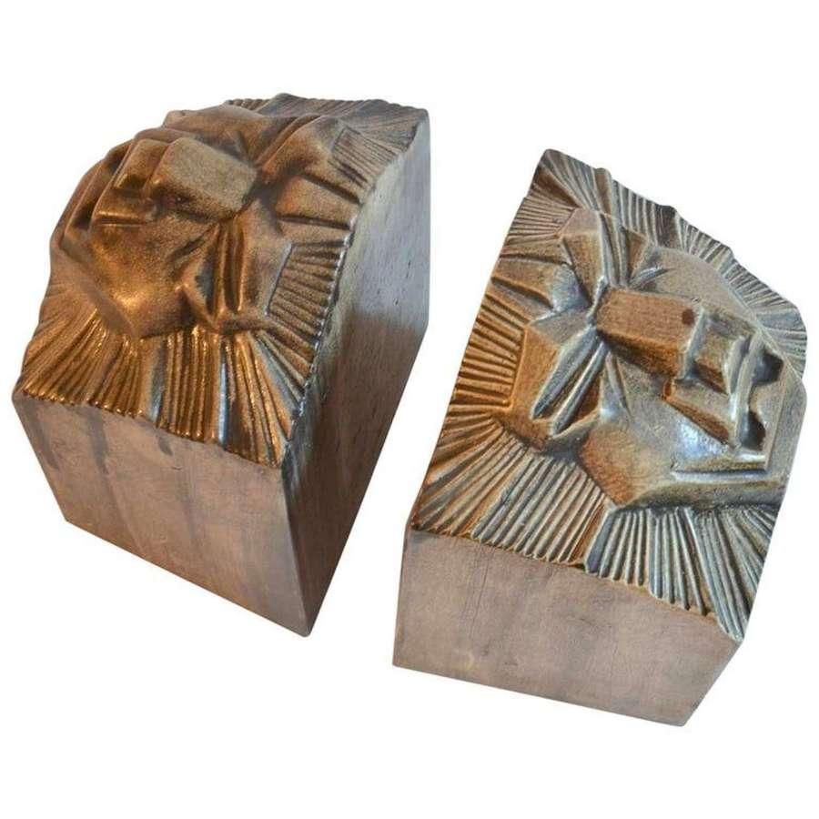 Ceramic Art Deco Bookends of a Lion Heads, Dutch