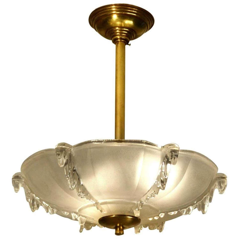 Art Deco French Glass Flush Mount Pendant Lamp