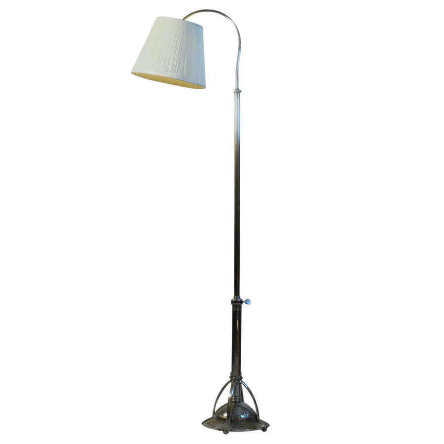 Art Deco Floor Lamp with Pleated Lamp Shade