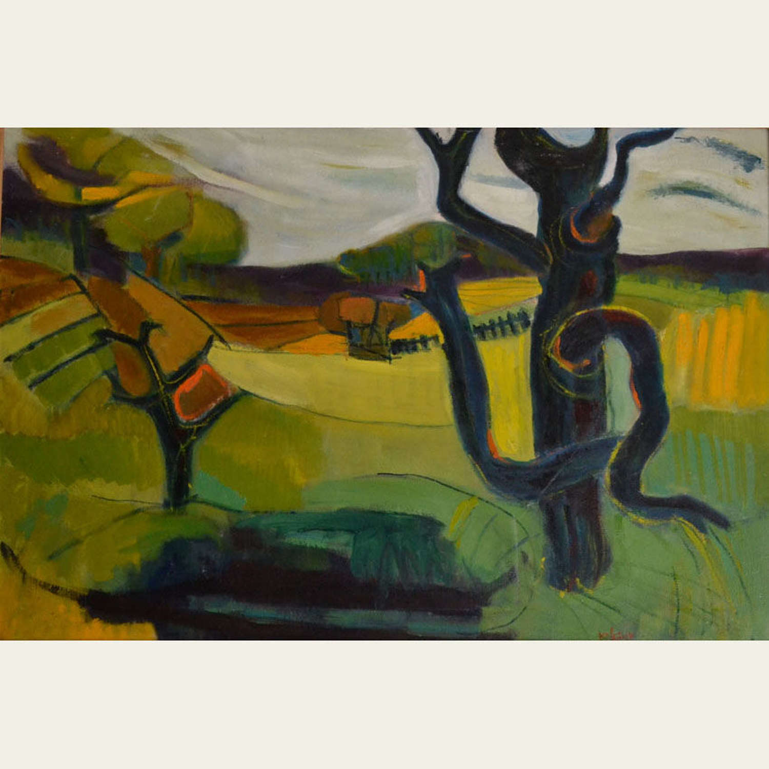 Oil Painting of British Landscape in Vibrant Green by Barbara Knight
