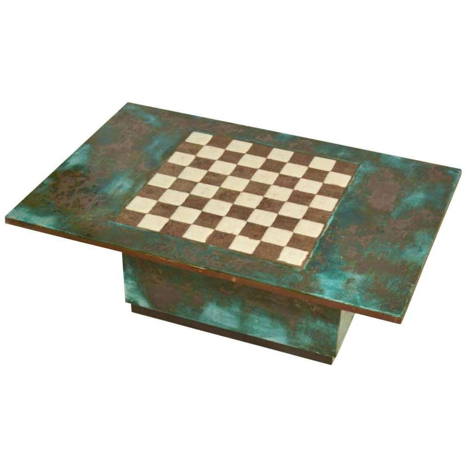 Game Table with Chessboard Hand Sculpted in Ceramic