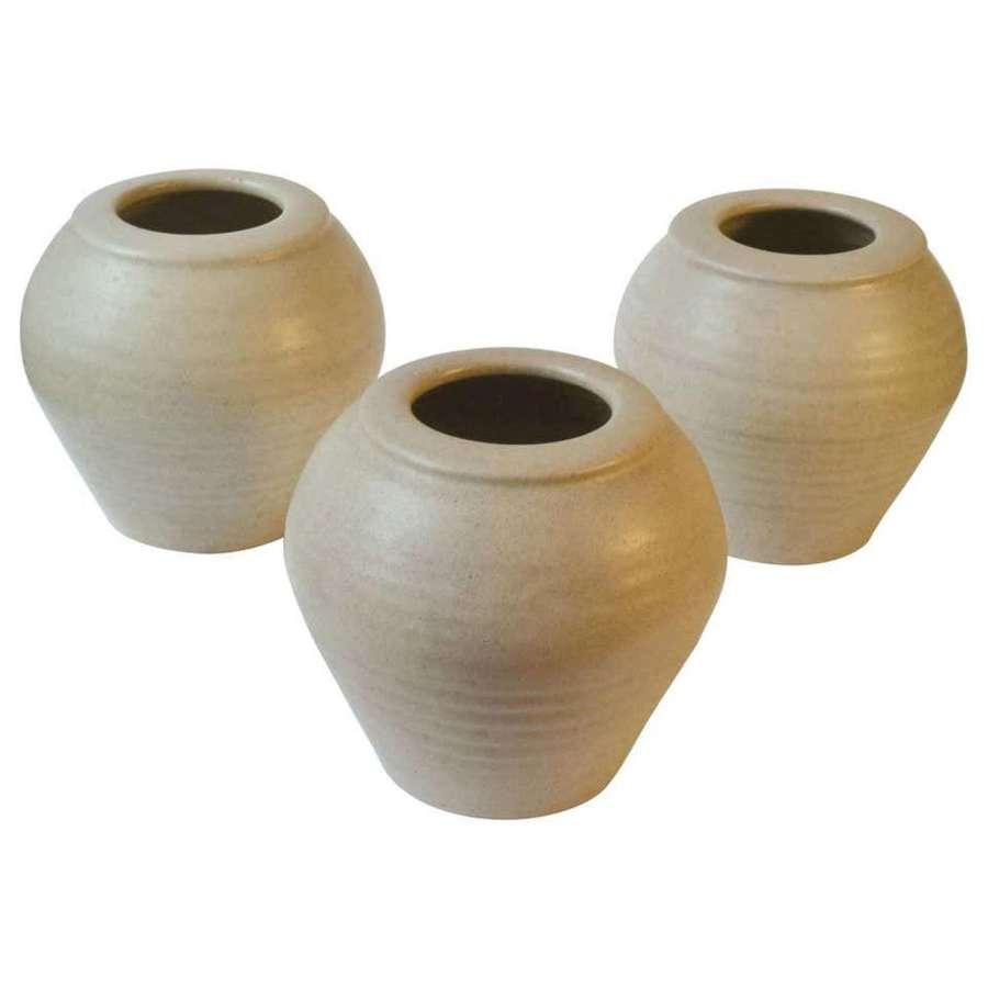Three Ivory White 1980's Studio Pottery Vases