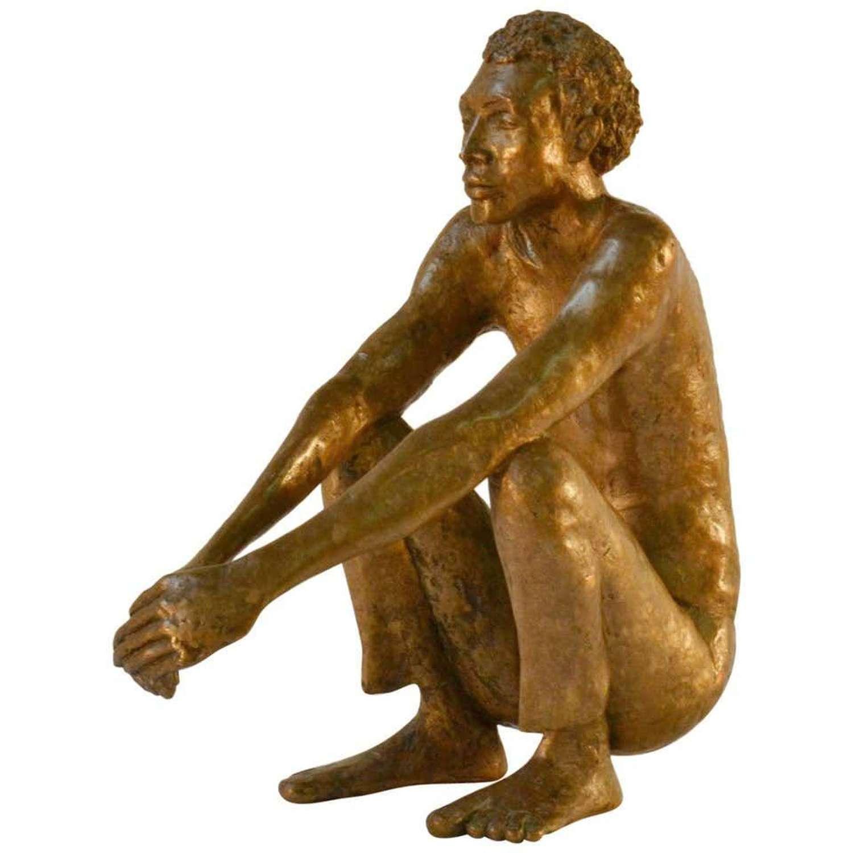 Bronze Sculpture of Waiting Man Dutch 1986