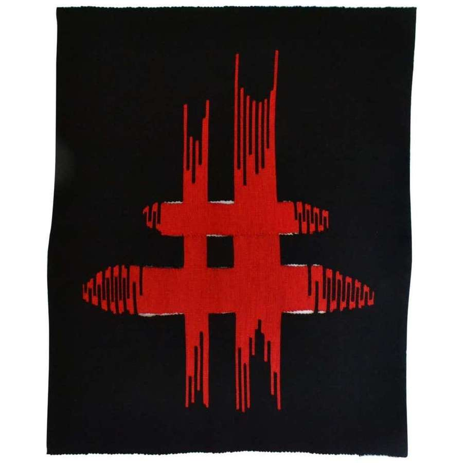 Abstract Expressionist Tapestry by Liesbeth Wiersma in Red and Black,