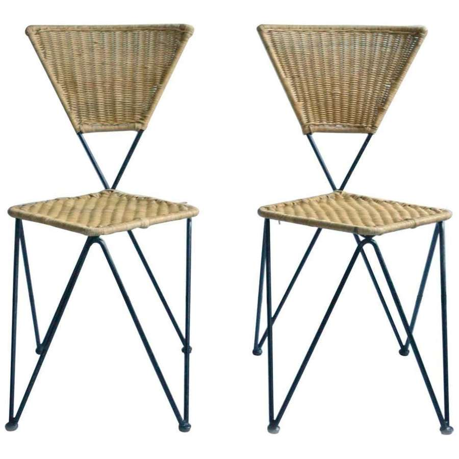 Pair of Wicker and Metal Dining Chairs, Vienna 1950's