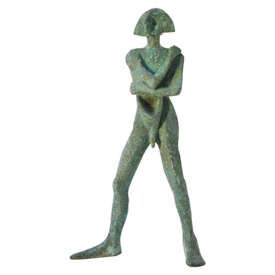 Standing Man Sculpture in Bronze with Green Patina