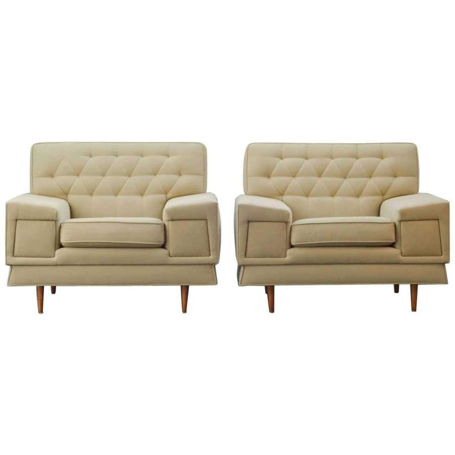 Pair of Large Cream 1950's Club Chairs Attributed to Paul McCobb