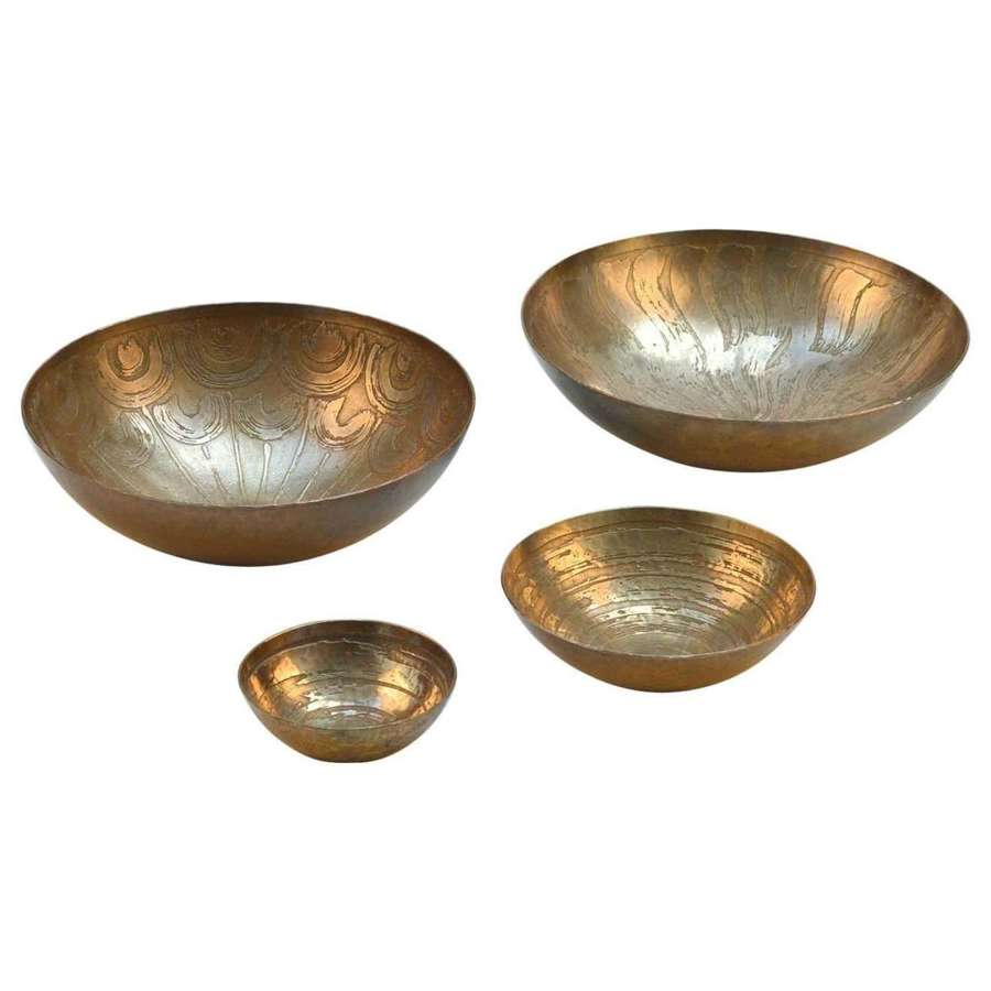Four Etched Bronze Bowls by Michael Harjes Metallkunst