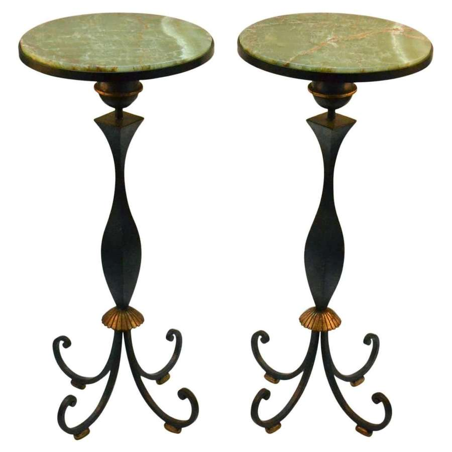 Pair of High Side Tables by Gilbert Poillerat, France, 1940's