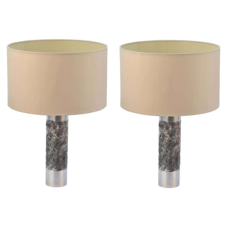 Pair of Brutalist Aluminum Table Lamp by Willy Luyckx, Aluclair, 1960'