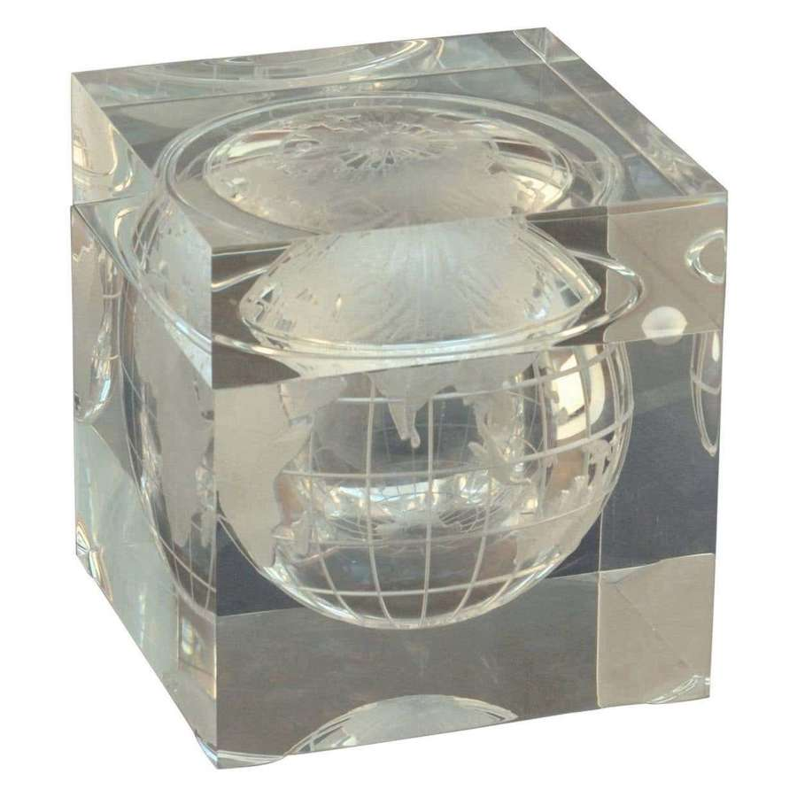 World Globe Ice Bucket Acrylic Cube by Alessandro Albrizzi, Italy 1960