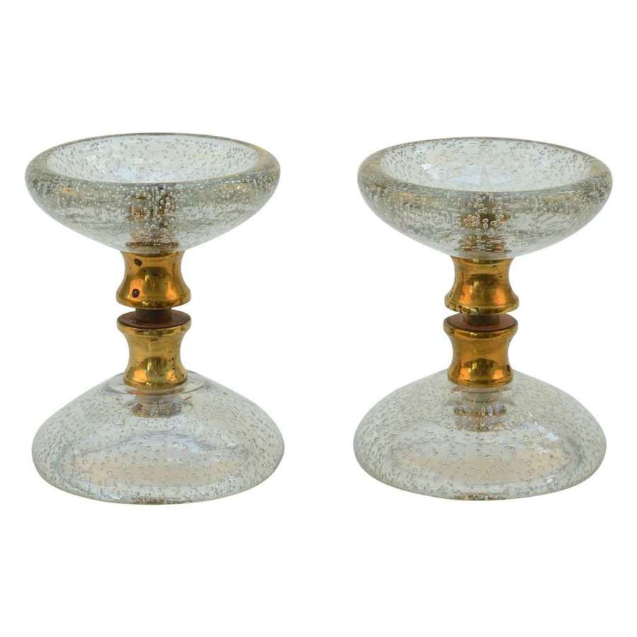 Pair of Clear Round Murano Glass and brass Double Door Handles