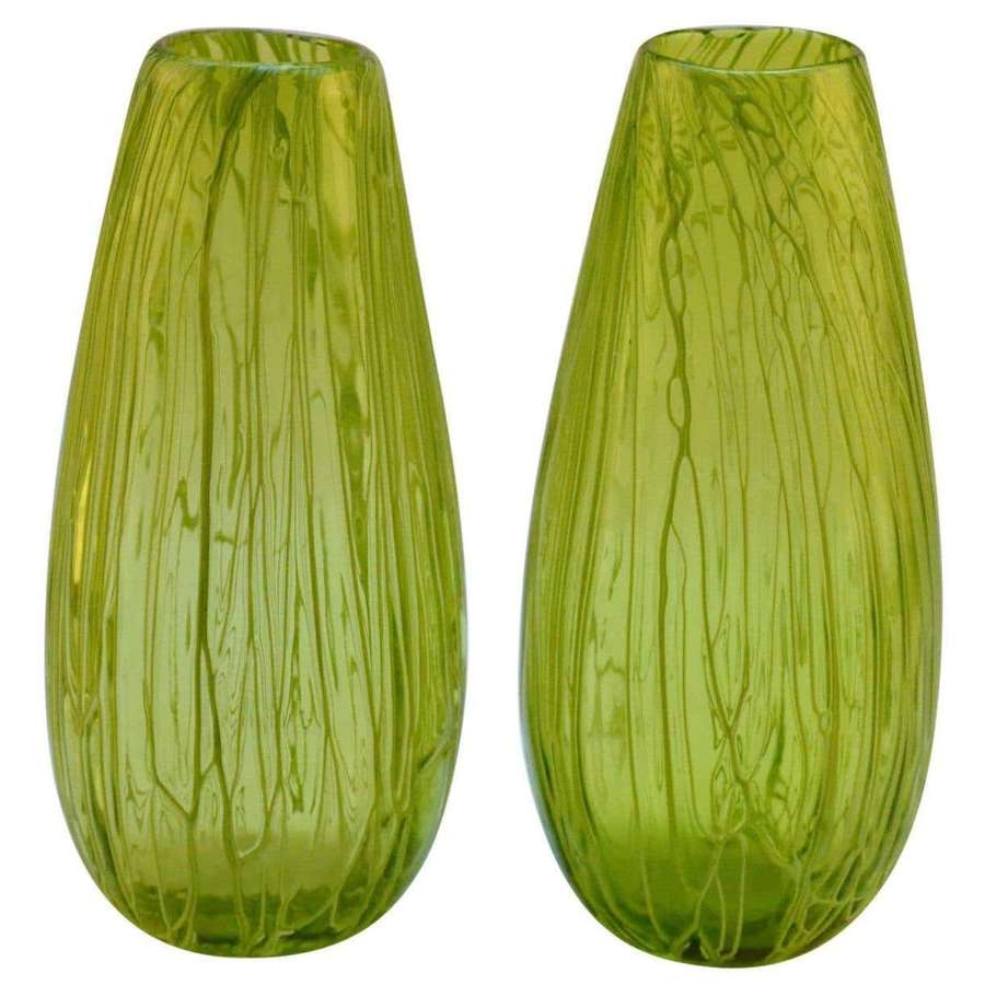 Pair of Hand Blown Glass Acid Green Veined Vases