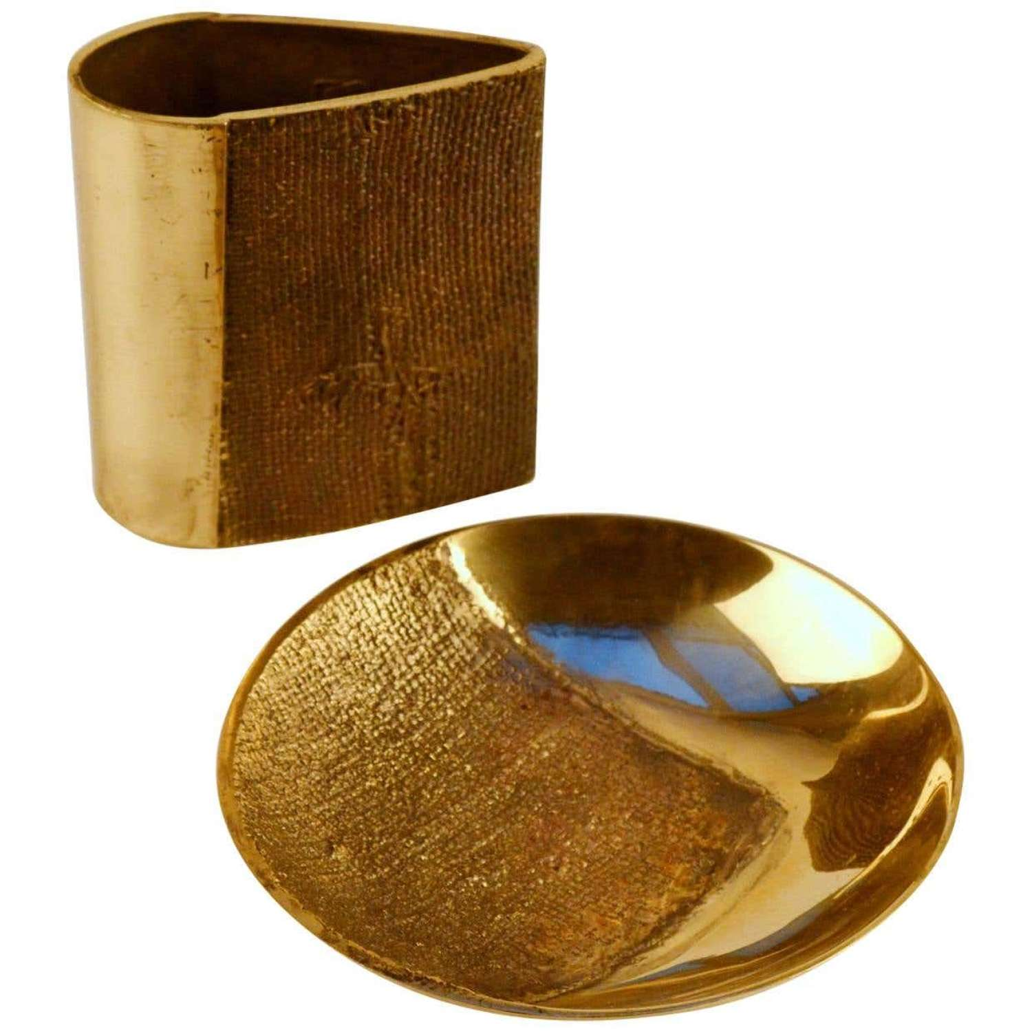 Bronze Cast Vase and Bowl by Saviato with Brutalist Finish