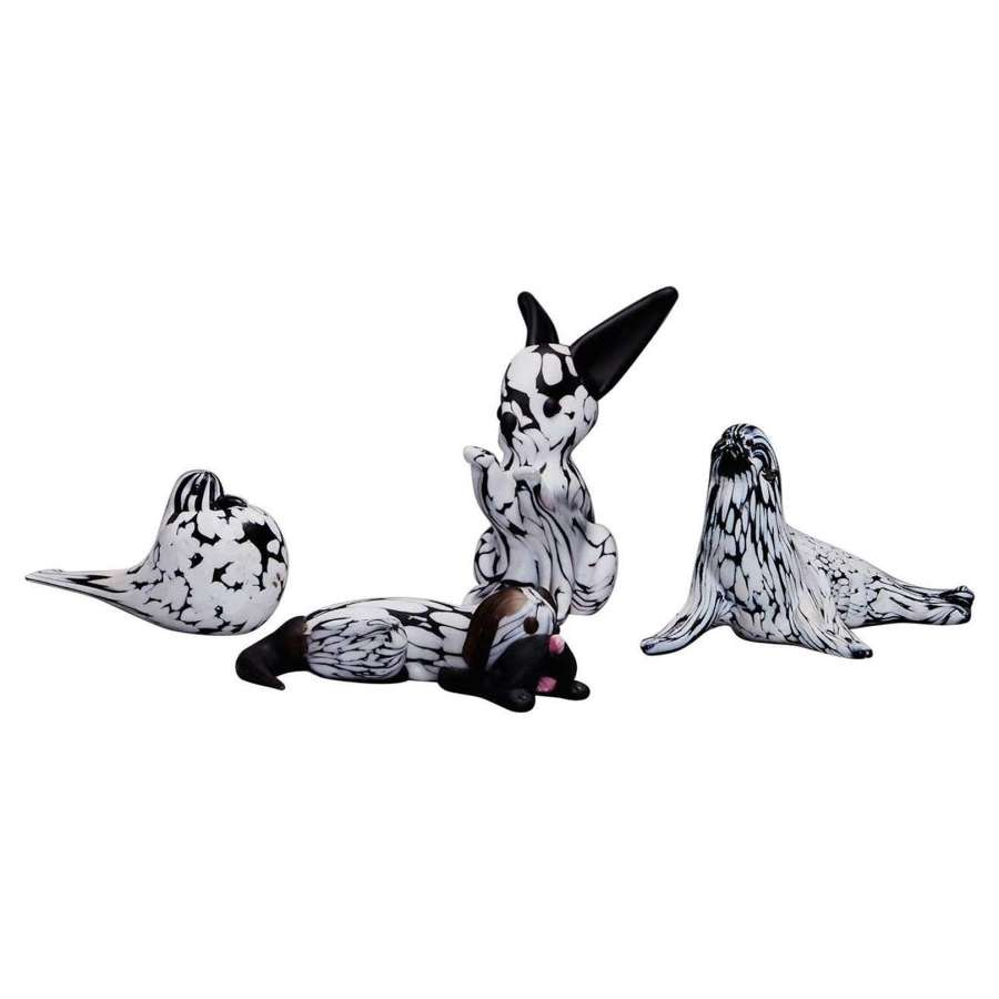 Group of Four Animal Sculptures in Black and White by Archimede Seguso