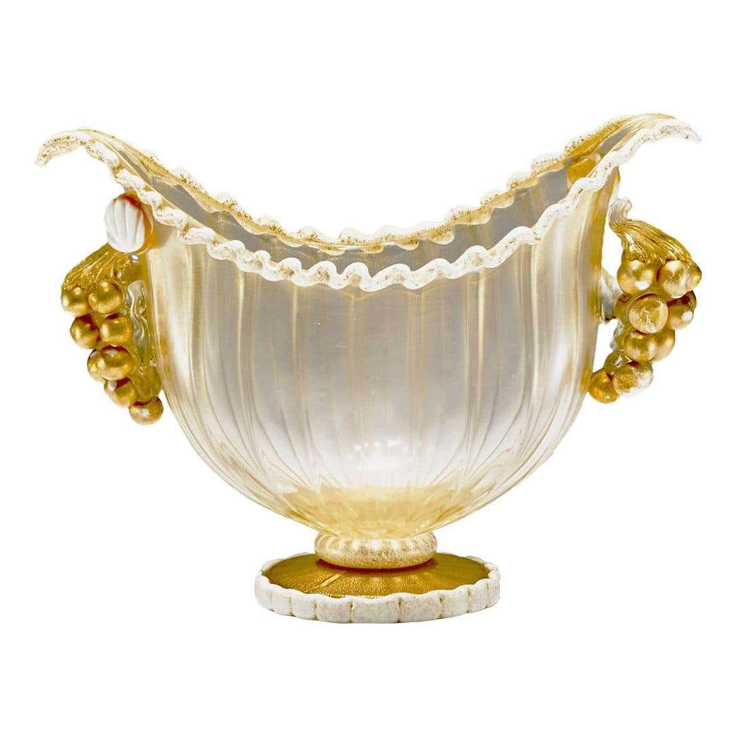 Footed Bowl Gold Leaf & Grapes, Ercole Barovier for Barovier, Toso & C