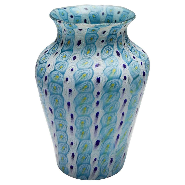 Murrine Vase in Aqua Blue Fratelli Toso, circa 1930