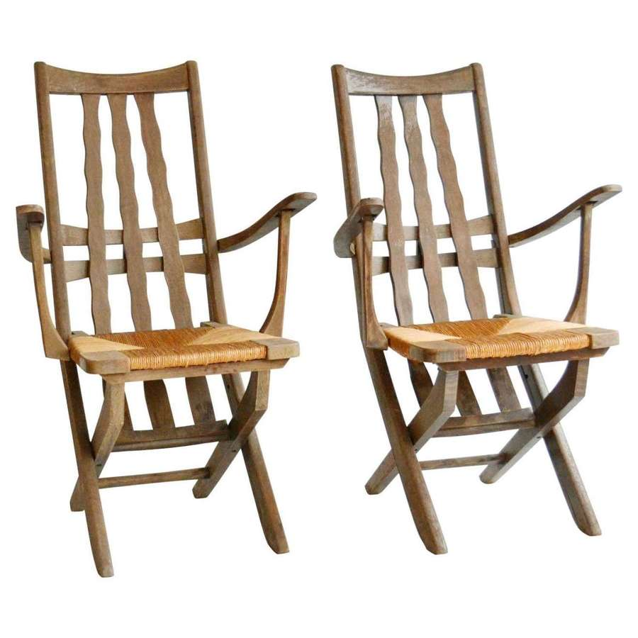 Pair of French Modernist Garden Oak Chairs, French, 1950's