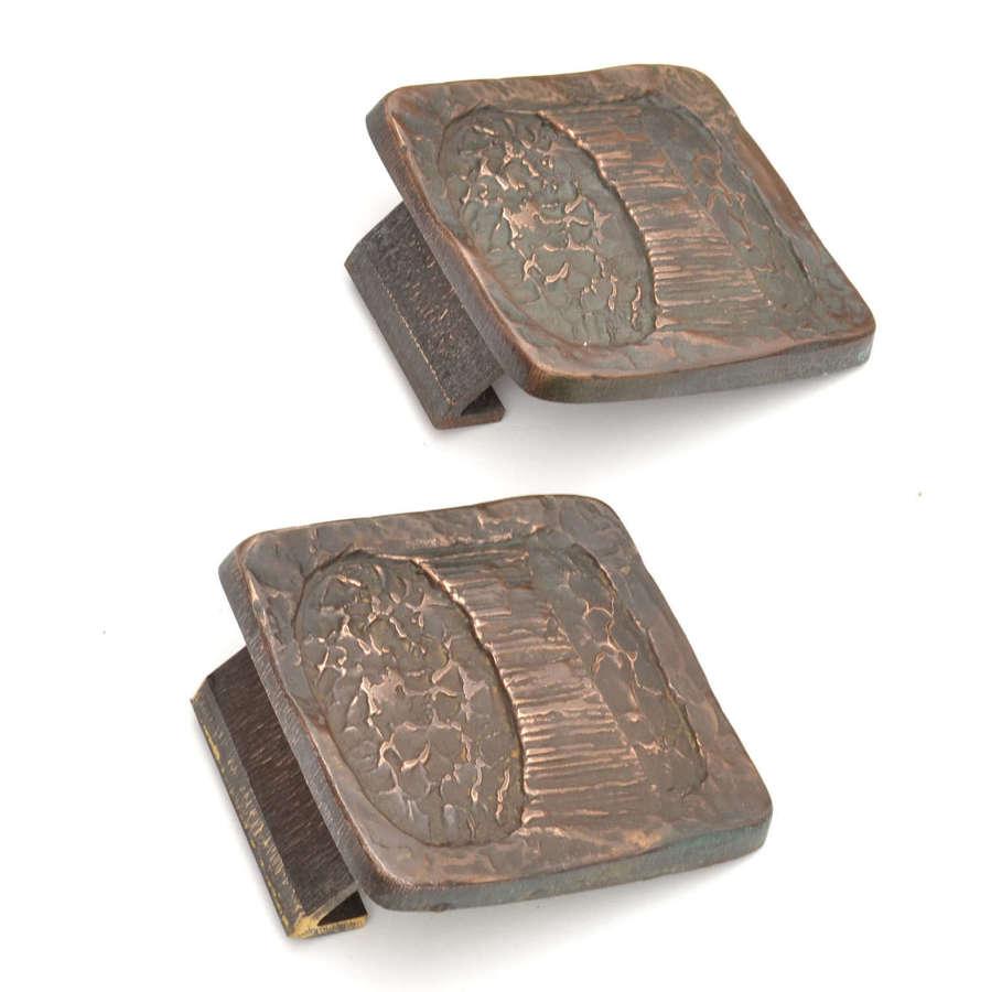 Pair of Brutalist Bronze Push and Pull Door Handles for Double