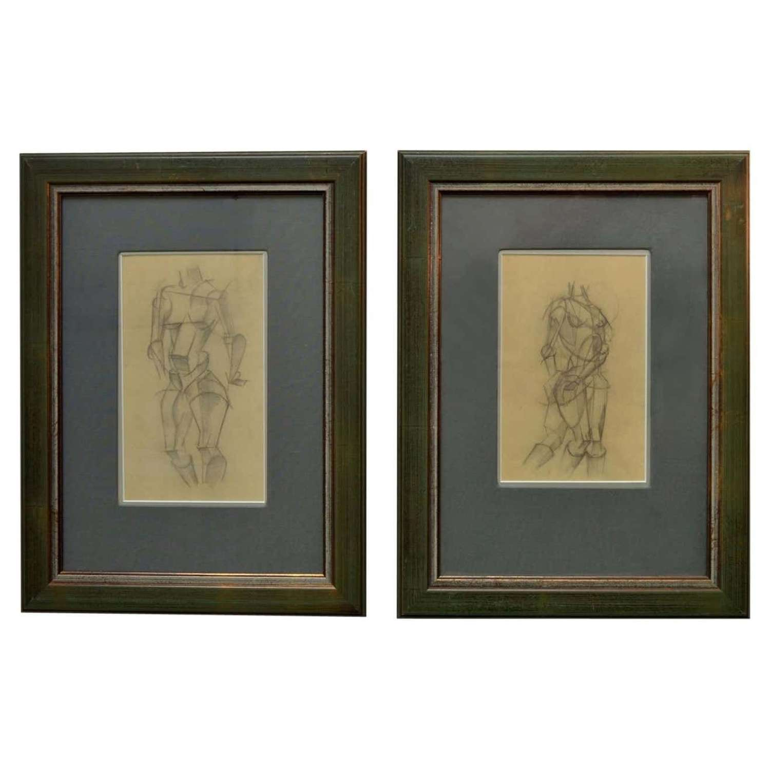 Set of Two Female Studies of Early 20th Century Cubist Life Drawings